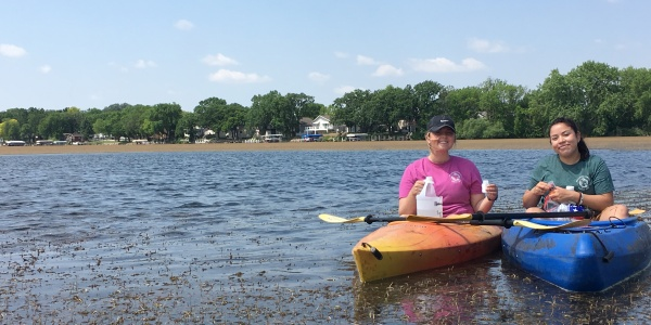 CLAMP Volunteers collecting samples on West Okoboji
